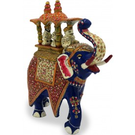 Elephant Ambabari Design in Metal Handmade and handpainted - Home Decor Gift