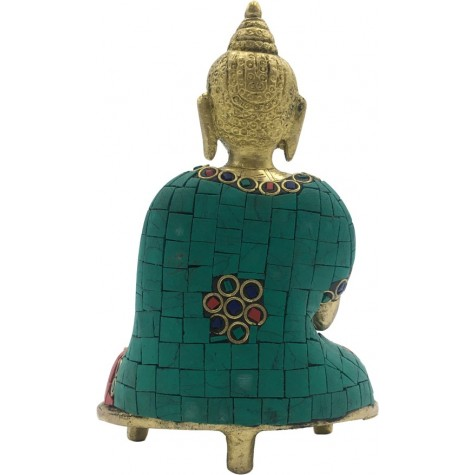 Buddha Sitting in Meditation made in Brass & Hand Colored - Handicraft from India Buddha Meditating Statue