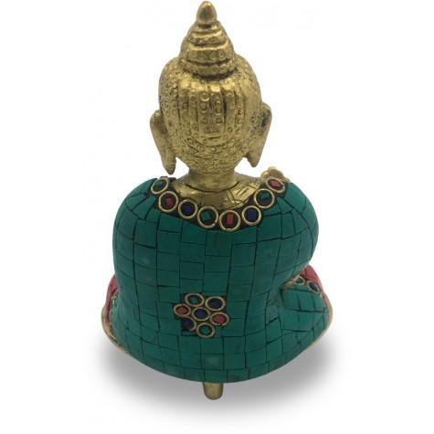 Buddha Sitting in Meditation made in Brass & Hand Colored - Handicraft from India Buddha Meditating Statue