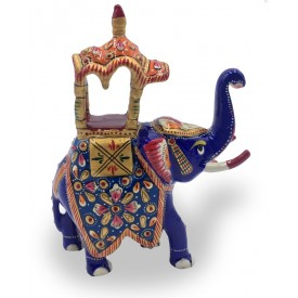 Elephant Ambavari made in Metal and Hand Painted - Home Decor Gift