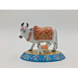 Cow with Calf made in Metal & Painted - Home Decor Handicraft