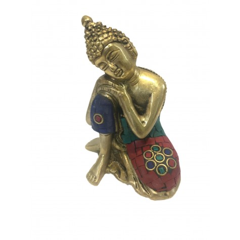 Buddha sitting with head on knee statue in brass 4 inches - colourful Buddah idol and figurines in brass - Indian handicraft