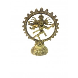 Natraj Statue in Brass 6 inches - Lord Shiva in dancing posture performing cosmic dance / tandav dance beautifully carved in brass