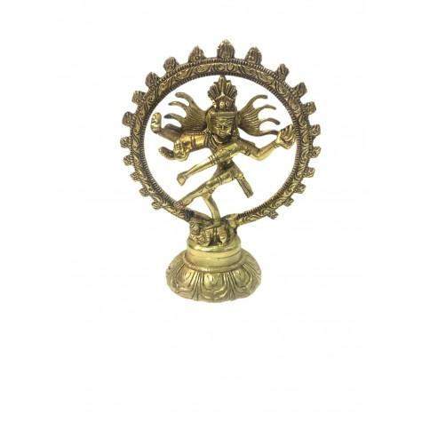 Natraj Statue in Brass 6 inches - Lord Shiva in dancing posture performing cosmic dance / tandav dance beautifully carved in brass