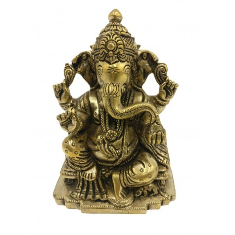 Ganesh statue in brass 5.5 inches - Ganesha idol and Ganpati figurines in brass - Indian handicrafts