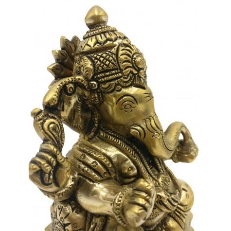 Ganesh statue in brass 5.5 inches - Ganesha idol and Ganpati figurines in brass - Indian handicrafts