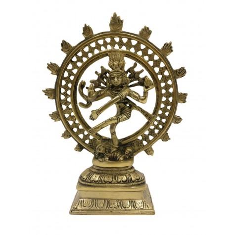 Natraj Statue in Brass 8 inches - Lord Shiva in dancing posture performing cosmic dance / tandav dance beautifully carved in brass