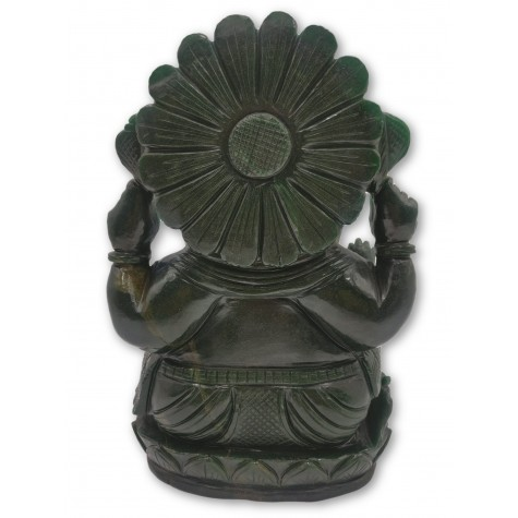Ganesha Green Aventurine Stone Statue Hand Carved 10 Inches, 6.9 kgs