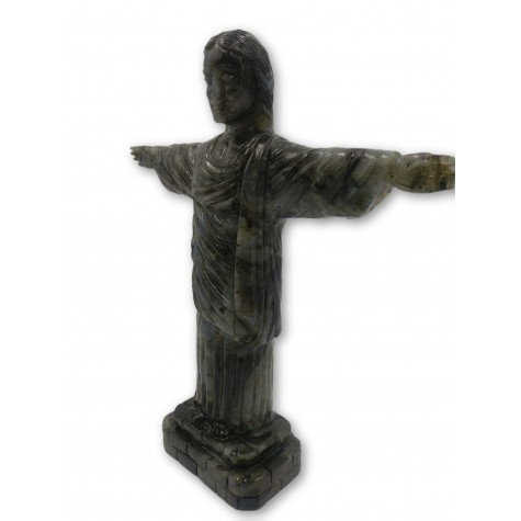 """Christ the Redeemer"" - Majestic carving in natural labradorite stone 13 inches tall - handcarved statue / figurine of Jesus Christ"