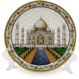 Marble Round Plate TajMahal with CutWork - Indian Handicraft