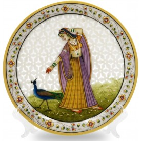 Marble Round Decorative Plate Cutwork with Lady Figurine - Indian Handicraft in Marble