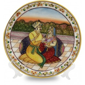 Marble Round Decorative Plate with Man & Woman Figurine - Handicrafts in Marble