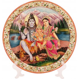 Marble Round Decorative Plate With Shiv Parvati Design