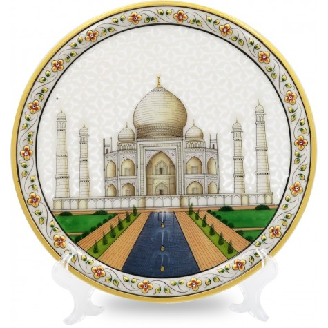 Marble Round Decorative Plate With TajMahal Design