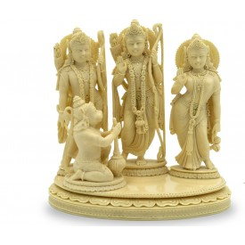Ram Durbaar Statue handmade in Marble Powder - Ram Laxman Sita with Hanuman Handicraft from India