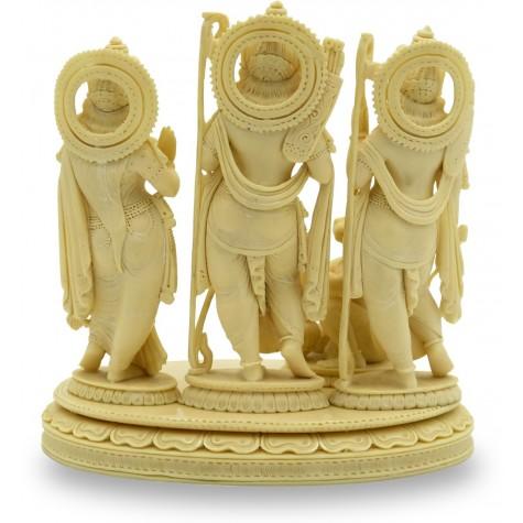 Ram Durbaar Statue handmade in Marble Powder - Ram Laxman Sita with Hanuman Handicraft from India