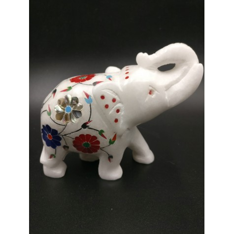 Marble Inlay Elephant 4 inches - elephant gifts and animal figurine home decor in marble - marble inlay work Indian handicrafts