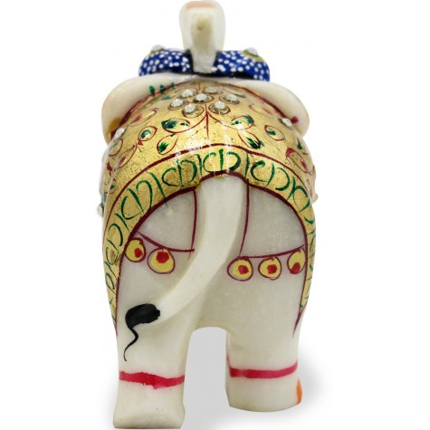 Elephant in Marble with Painting - Marble Indian Handmade