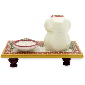 Marble Ganesha Chowki with Lamp on a marble Pedestal - Ganesha Handmade in Marble
