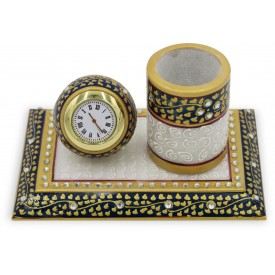 Pen Stand for Office in Marble with Watch