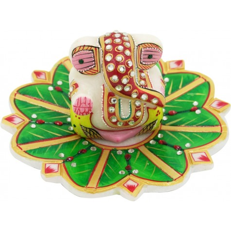 Ganesha Marble Statue on Marble Leaf Plate - Home Decor Gift
