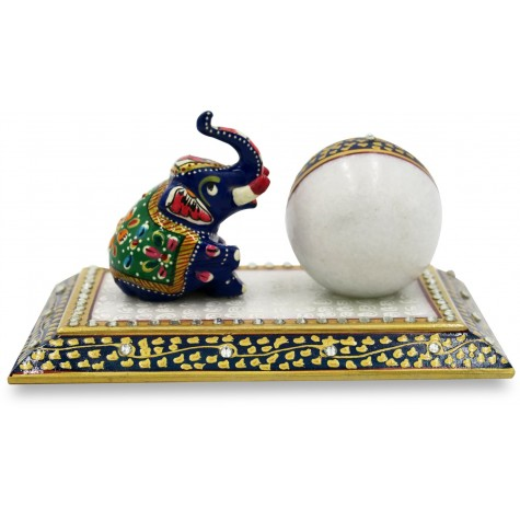 Marble Table Decoration with Watch and Elephant - Handmade Home Decor in Marble