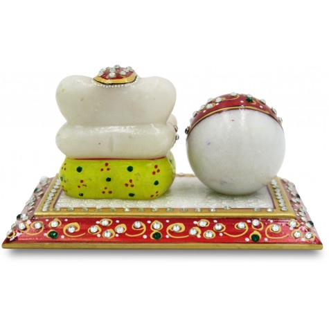 Table Decor Ganesha with Watch - Marble Handicraft India