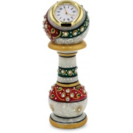 Table Decor - Pillar with Watch in Marble - Indian Handicraft