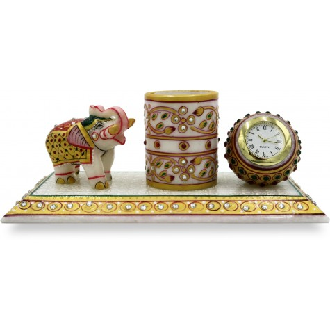 Marble Pen Stand with Watch and Elephant