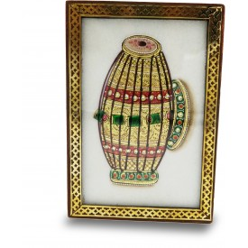 Marble Jewelry Boxes with Kundan Work - Gift Jewelry Marble Box in Wooden Frame - Dhol Design