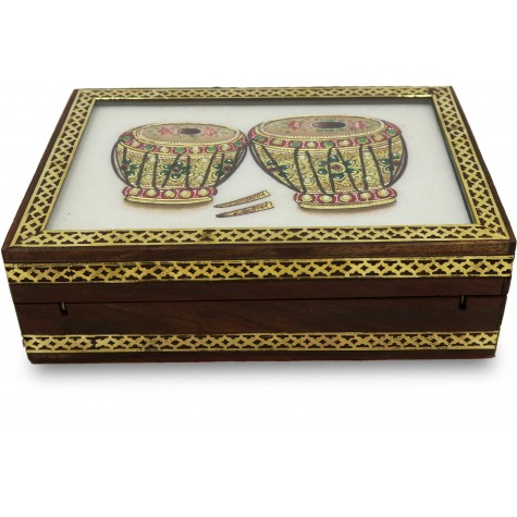 Marble Jewelry Boxes with Kundan Work - Gift Jewelry Marble Box in Wooden Frame - Tabla Design