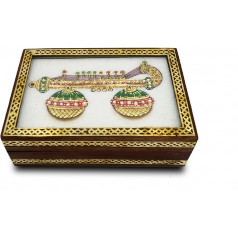Marble Jewelry Boxes with Kundan Work - Gift Jewelry Marble Box in Wooden Frame - Santoor Design