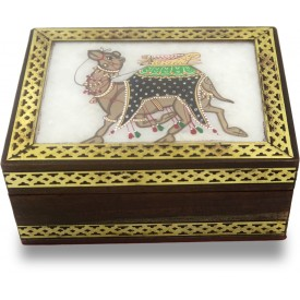 Marble Jewelry Boxes with Camel Painting using Crushed Gemstone art on wood - Gift a Jewelry Marble Box in Wooden Frame