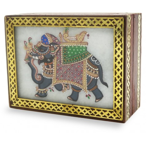 Marble Jewelry Boxes with Elephant Painting using Crushed Gemstone art on wood - Gift a Jewelry Marble Box in Wooden Frame
