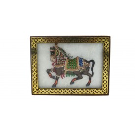 Marble Jewelry Boxes with Horse Painting using Crushed Gemstone art on wood - Gift a Jewelry Marble Box in Wooden Frame