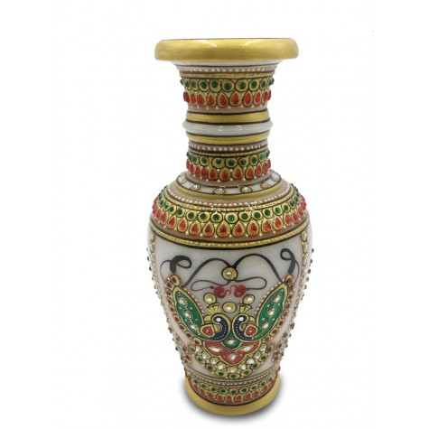 Marble Flower Vase with Peacock Jewelry design - Vase in Marble Handpainted Indian Artifact
