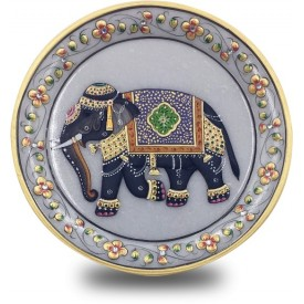 Marble Round Plate with Hand Painted Elephant - Handicraft from India