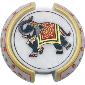 Marble Round Coaster Set with Elephant Painted - Marble Handicraft from India