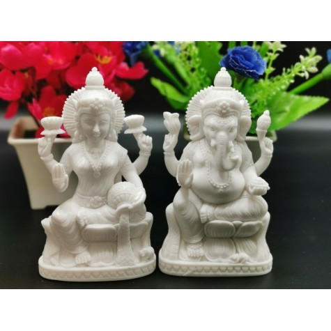 Laxmi Ganesh statue -  Indian Gods and Goddess idols and gifts in marble dust 5.5 inches - Diwali and festive occasion special gift
