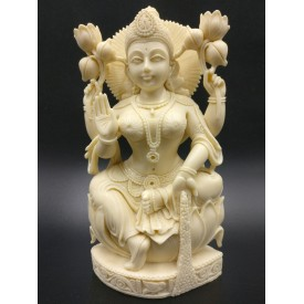 Goddess Laxmi sitting statue in marble dust 8 inches - Devi Lakshmi hand carved idol and figurine for temple or home decor - Diwali gifts
