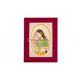 Mughal Queen Miniature Painting Framed
