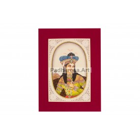 Mughal King Miniature Painting Framed
