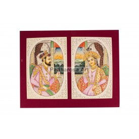Miniature Painting of Mughal King & Queen