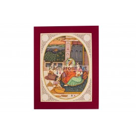 Miniature Painting of Mughal Emperor with Queen