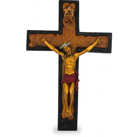 Jesus on Cross Handmade Gold Polyresin Statue - Jesus Christ Cross gift