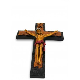 Jesus on Cross Handmade Gold Polyresin Statue - Jesus Christ Cross gift