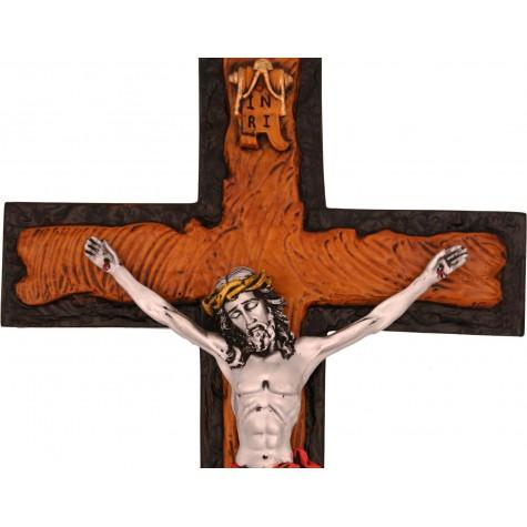 Jesus on Cross Handmade Silver Polyresin Statue - Jesus Christ Cross - Gift a Cross