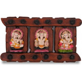 Handmade Triple Ganesha Wall Hanging in PolyResin - Lord Ganesh Collectible Wall Hanging in Resin