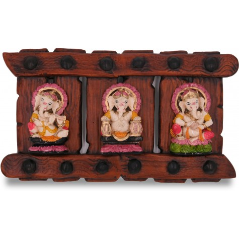 Handmade Triple Ganesha Wall Hanging in PolyResin - Lord Ganesh Collectible Wall Hanging in Resin
