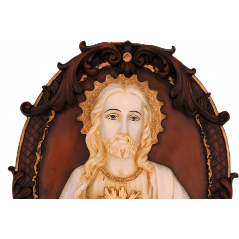 Jesus Face Handmade Wall Mural in Polyresin , Lord Jesus Gift Wall Hanging